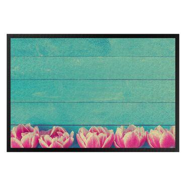 Fußmatte - Rosa Tulpen auf Türkis