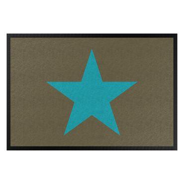 Fußmatte - Stern in braun türkisblau