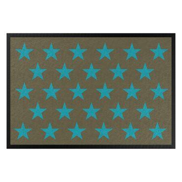 Fußmatte - Sterne versetzt braun türkisblau