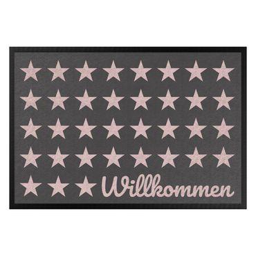 Fußmatte - Willkommen Sterne anthrazit rosé