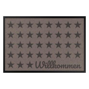 Fußmatte - Willkommen Sterne graubraun