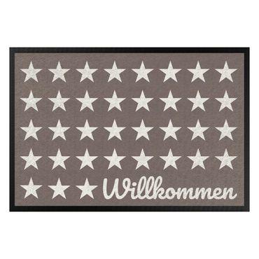 Fußmatte - Willkommen Sterne graubraun weiß