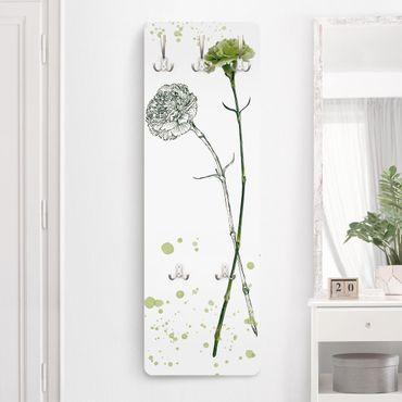 Garderobe - Botanisches Aquarell - Nelke