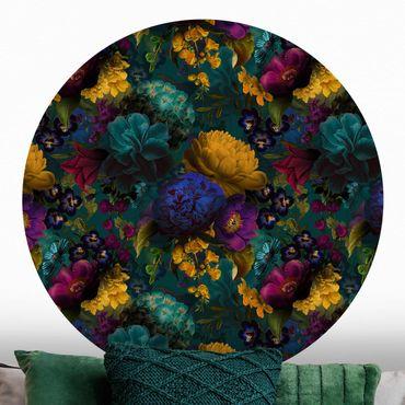 Runde Tapete selbstklebend - Gelbe Blüten mit Blauen Blumen vor Türkis