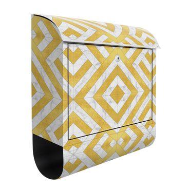 Briefkasten - Geometrischer Fliesenmix Art Deco Gold Marmor