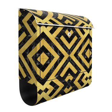 Briefkasten - Geometrischer Fliesenmix Art Deco Gold Schwarzer Marmor