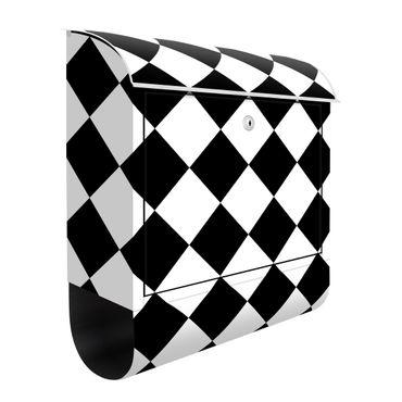 Briefkasten - Geometrisches Muster gedrehtes Schachbrett Schwarz Weiß