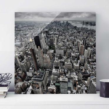 Glasbild - Blick über Manhattan - Quadrat 1:1