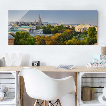 Glasbild - Blick über Wien - Panorama Quer