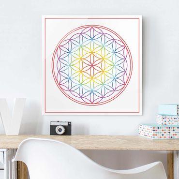 Glasbild - Blume des Lebens Bunt - Quadrat 1:1