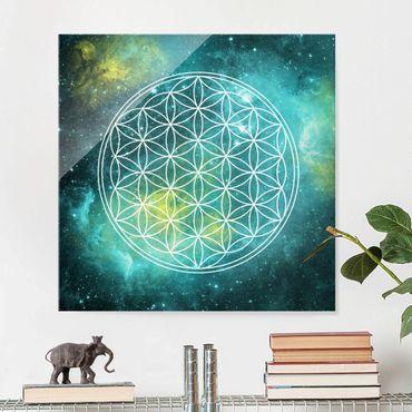Glasbild - Blume des Lebens im Licht der Sterne - Quadrat 1:1