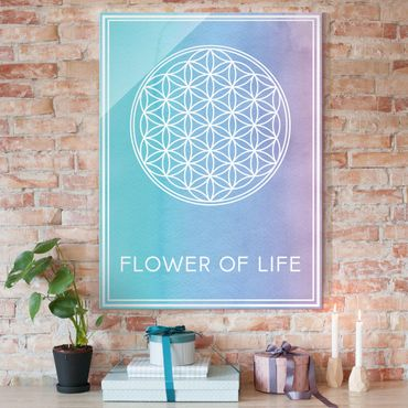 Glasbild - Blume des Lebens Pastell Aquarell - Hoch 3:4