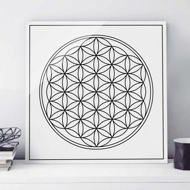 Glasbild - Blume des Lebens Schwarz Weiß - Quadrat 1:1