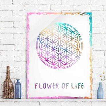 Glasbild - Blume des Lebens Wasserfarbe - Hoch 3:4