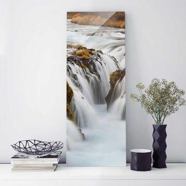 Glasbild - Brúarfoss Wasserfall in Island - Panorama Hoch