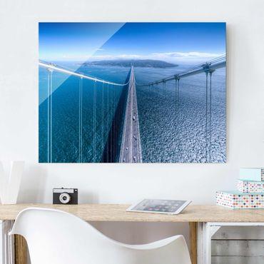 Glasbild - Brücke zur Insel - Querformat 3:4