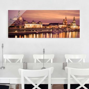 Glasbild - Canalettoblick Dresden - Panorama Quer