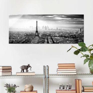 Glasbild - Der Eiffelturm von Oben Schwarz-weiß - Panorama