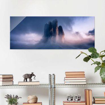 Glasbild - Drei Zinnen in blauem Licht - Panorama