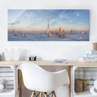 Glasbild - Dubai über den Wolken - Panorama