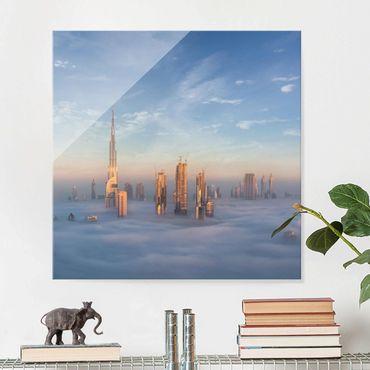 Glasbild - Dubai über den Wolken - Quadrat 1:1