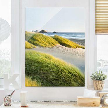 Glasbild Strand - Dünen und Gräser am Meer - Strandbild Hoch 3:4