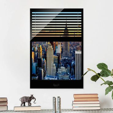 Glasbild - Fensterausblick Jalousie - Sonnenaufgang New York - Hoch 2:3