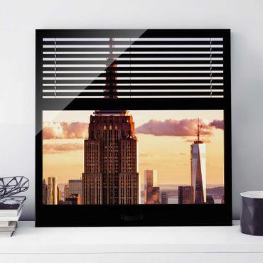 Glasbild - Fensterblick Jalousie - Empire State Building New York - Quadrat 1:1