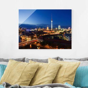 Glasbild Berlin - Fernsehturm bei Nacht - Quer 4:3