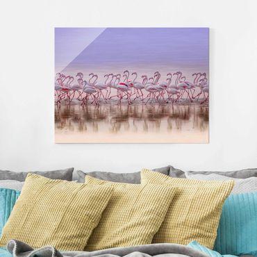 Glasbild - Flamingo Party - Querformat 3:4