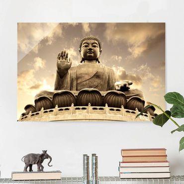 Glasbild - Großer Buddha Sepia - Quer 3:2