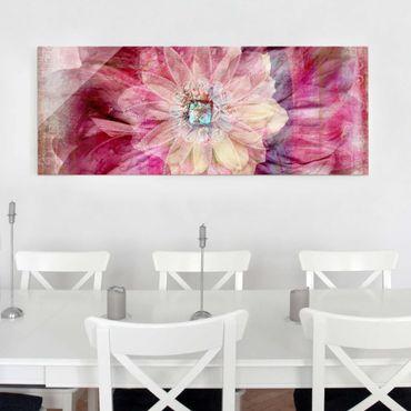 Glasbild - Grunge Flower - Panorama Quer