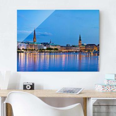 Glasbild - Hamburg Skyline - Quer 4:3
