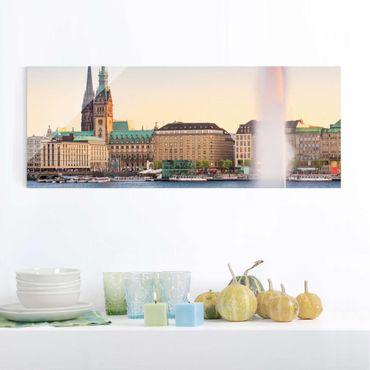 Glasbild - Hamburger Alster - Panorama Quer