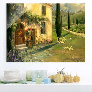 Glasbild - Italienische Landschaft - Zypresse - Querformat 3:4