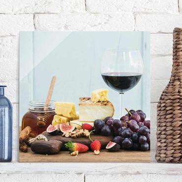 Glasbild - Käse und Wein - Quadrat 1:1