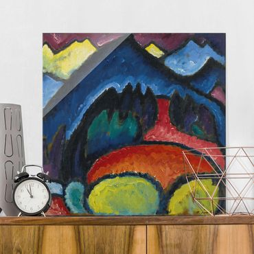 Glasbild - Kunstdruck Alexej von Jawlensky - Oberstdorf - Gebirge - Quadrat 1:1