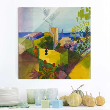 Glasbild - Kunstdruck August Macke - Landschaft am Meer - Quadrat 1:1