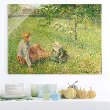 Glasbild - Kunstdruck Camille Pissarro - Die Gänsehirtin - Impressionismus Quer 4:3