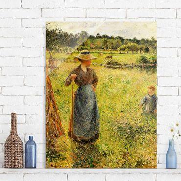 Glasbild - Kunstdruck Camille Pissarro - Die Heumacherin - Impressionismus Hoch 3:4