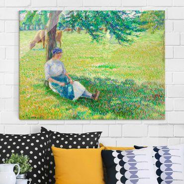 Glasbild - Kunstdruck Camille Pissarro - Kuhhirtin, Eragny - Impressionismus Quer 4:3
