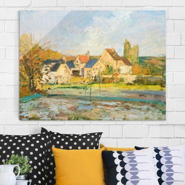 Glasbild - Kunstdruck Camille Pissarro - Landschaft bei Osny in der Nähe einer Tränke - Impressionismus Quer 4:3