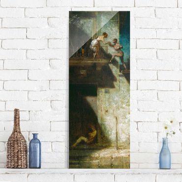 Glasbild - Kunstdruck Carl Spitzweg - Pierrot und Columbine (Stelldichein) - Panorama Hoch