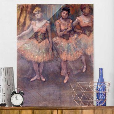 Glasbild - Kunstdruck Edgar Degas - Drei Tänzerinnen vor dem Exercice - Impressionismus Hoch 3:4