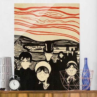 Glasbild - Kunstdruck Edvard Munch - Angstgefühl - Expressionismus Hoch 3:4