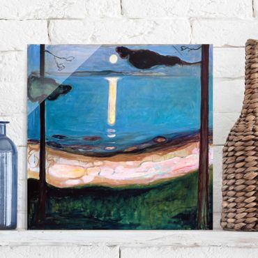 Glasbild - Kunstdruck Edvard Munch - Mondnacht - Expressionismus Quadrat 1:1
