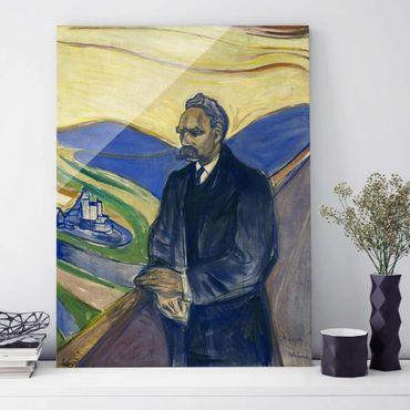 Glasbild - Kunstdruck Edvard Munch - Porträt von Friedrich Nietzsche - Expressionismus Hoch 3:4