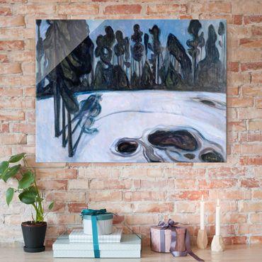 Glasbild - Kunstdruck Edvard Munch - Sternennacht - Expressionismus Quer 4:3