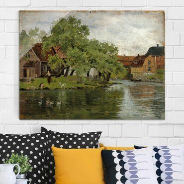 Glasbild - Kunstdruck Edvard Munch - Szene am Fluss Akerselven - Expressionismus Quer 4:3