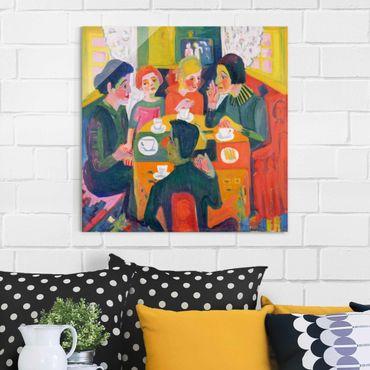 Glasbild - Kunstdruck Ernst Ludwig Kirchner - Kaffeetisch - Quadrat 1:1